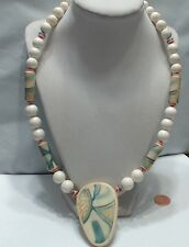 """Vintage Japan Painted Chunky Necklace, 24"""""""