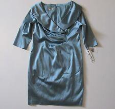 NWT Kay Unger Portrait Shawl Collar Misty Blue Stretch Satin Sheath Dress 20W