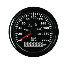 """85mm(3-3/8"""")  Speedometer Gauge Black Background Black Bezel Red LED Backlight"""