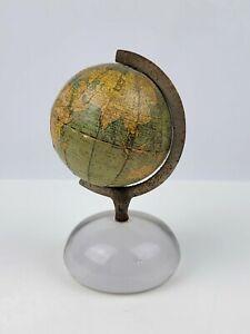 "Early 1891-1914 American Globe & School Supply 3"" World Globe Glass Bottom Good"