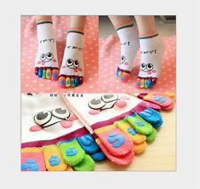 Women's Lovely Cartoon Five Toes Socks Facial Expression Breathable Middle Socks