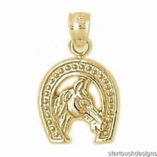 New 14k Yellow Gold Horseshoe Pendant