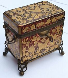 OLD VTG ANTIQUE CRANBERRY GLASS LOCKBOX MOSER BRASS MOUNT GOLD FLORAL BUTTERFLY