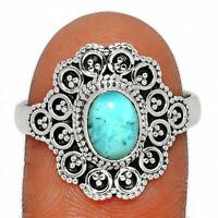 Genuine Larimar - Dominican Republic 925 Silver Ring Jewelry s.9 BR16669  XGB