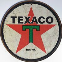 PLAQUE METAL publicitaire USA vintage TEXACO - 30 cm