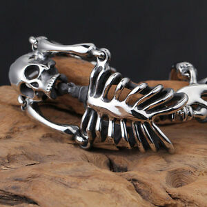 Men's Stainless Steel Bracelet Biker Skeleton Skull Chain Bangle Link Silver