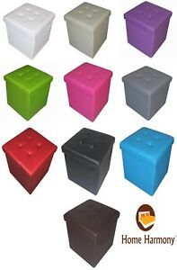 New Quilted Top Folding Storage Ottoman Seat Stool Toy Storage Box Faux Leather