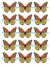 Edible Orange Monarch Butterfly Wedding Cake Toppers- Cake Decorations set of 15