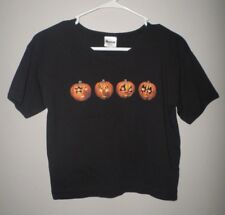 KISS women's lrg Halloween T shirt logo Ace Frehley pumpkins Gene Simmons sexy
