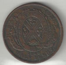 QUEBEC BANK OF CANADA, 1842, SOU (1/2 PENNY TOKEN), COPPER, KMTn18, VF-XF