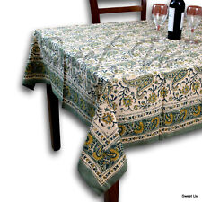 Block Print Tablecloth Rectangle 60x90 Green Yellow Cotton Floral Paisley Linen