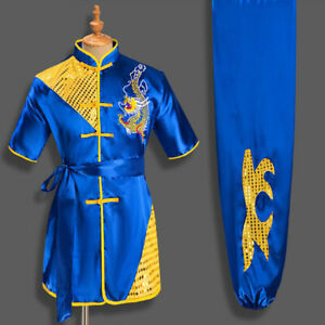 Martial Arts Uniform Kung Fu Tai Chi Suit Clothes With Sequins Dragon Embroidery