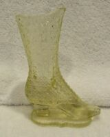 "Vintage FENTON Yellow Glass Boot Attached Base ""BOUQUET HOLDER PAT.APPLIED FOR"""
