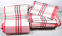 Vintage French pure cotton red white grey table cloth and 6 napkins NOS