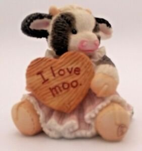 "Mary's Moo Moos ""I Love You Moo"" Branded Enesco 1994 Vintage Cow Decorative"