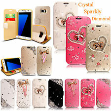 Luxury Bling Bowknot Crystal Diamond Wallet Flip Case Cover For Mobile Phones