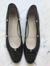 Salvatore Ferragamo Black Patent Leather Gold Vara Mini Logo Flats Sz 7.5