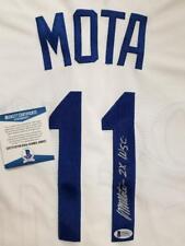 "MANNY MOTA Signed ""2x WSC"" Los Angeles Dodgers Jersey Autograph~ Beckett BAS COA"