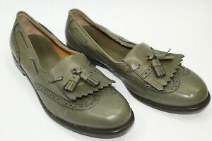 SALVATORE FERRAGAMO men shoes sz 10.5 Eu 44.5 green leather. Made In Italy S8488