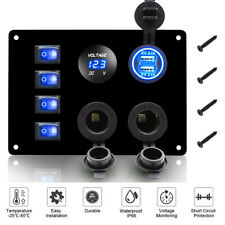4 Gang LED 12V 24V ON OFF Toggle Rocker Switch Panel Dual USB Car Marine Boat