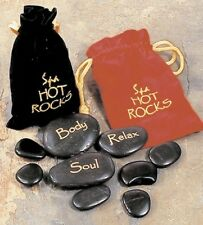 SPA HOT ROCKS STONES MASSAGE HEAT THERAPY IN BLACK POUCH RELAX TREATMENT0T2010