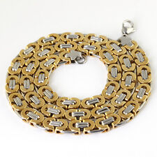 Hot Stainless Steel Link Chain Necklace & Bracelet Set Men's Jewelry Silver Gold