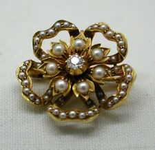 Antique Stunning Quality 15 carat Diamond And Pearl Brooch