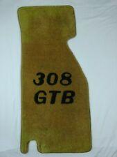 Ferrari 308 GTB Floor Mat ~ Passenger Side Only ~ Tan w/ Black Lettering ~