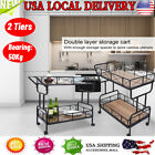Movable Dual Layer Storage Trolley Cart Metal Rack for Bar Kitchen Living Room