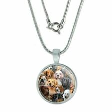 """Dogs Lab Retriever Dachshund Poodle Pat 0.75"""" Pendant w/ Silver Plated Chain"""