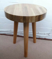 Solid Oak Top Round Side Occasional Coffee Lamp Table Handmade Wood Quality