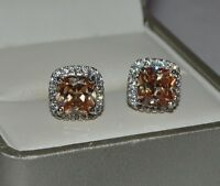 Beautiful White Gold Filled Champagne Topaz & Cubic Zirconia Stud Earrings 219