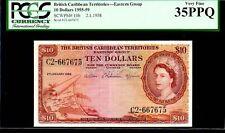 BRITISH CARIBBEAN TERRITORIES BCT P10b $10 1958 PCGS 35PPQ QUEEN ELIZABETH II RA