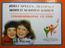 IRELAND: IRISH COMMEMORATIVE FIVE EURO COIN. 2003. SPECIAL OLYMPICS. FREE SHIP..