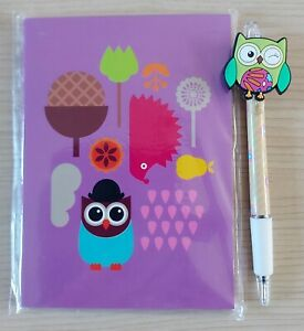 OWL A6 MINI NOTE BOOK & PEN WITH OWL TOPPER GIFT SCHOOL UK SELLER