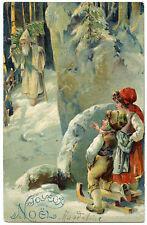 PERE NOËL CHRISTMAS. MANTEAU BLANC. WHITE COAT.  GAUFRé. EMBOSSED.