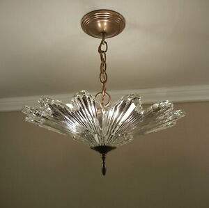Vintage 30s Art Deco Chandelier Pendant Ceiling Light Fixture SUNBURST Starburst