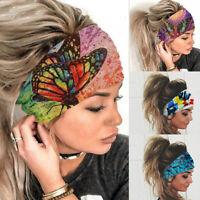 KQ_ Women Wide Headband Stretch Hairband Elastic Butterfly Hair Band Boho Turban