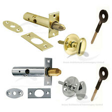 Door Rack Bolts For Added Security Chrome or Brass  Optional Thumb Turn or Key