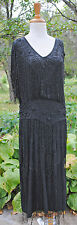 ANTIQUE DRESS 1920 BLACK BEADED FLAPPER SHIFT DRESS MUSEUM DE-ACCESSIONED