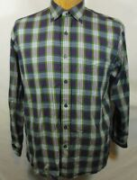 Alan Flusser Shirt Plaid Cotton White Purple Green Long Sleeve Mens Size M