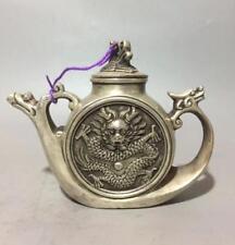 Collectible hand craft archaize Tibet silver dragon phoenix teapot W Daqing Mark