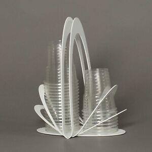 Arti e Mestieri Portabicchieri in metallo per bicchieri di plastica Origami Bian