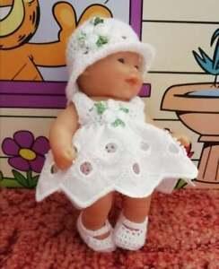 "Dolls Clothes, Hand Crochet & Fabric Dress Set For 5"" Berenguer Ooak Baby Doll"