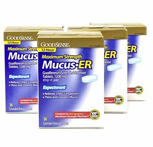 Guaifenesin 1200 mg Extended Release Mucus ER Compare to Mucinex EXP12/21 (56)
