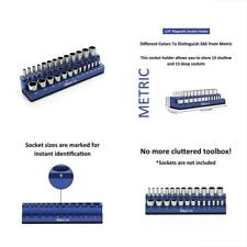 "Magnetic Socket Holder 1/4"" Drive 26 Sockets Premium Quality Tool Organizer Blue"