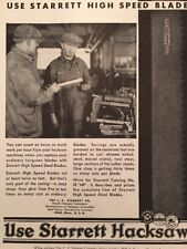 1931 Starrett Tool Hacksaw Vintage Print Ad Trade Advertising