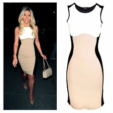 Womens Celeb Towie Essex Slimming Effect Nude Contrast Bodycon Ladies Dress