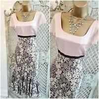 FENN WRIGHT MASON  UK 8 Pink Silk Floral Fit & Flare Dress Mother of Bride