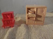 Vintage Marx Plastic Doll House Furniture TV Stereo Entertainment Center Shelf